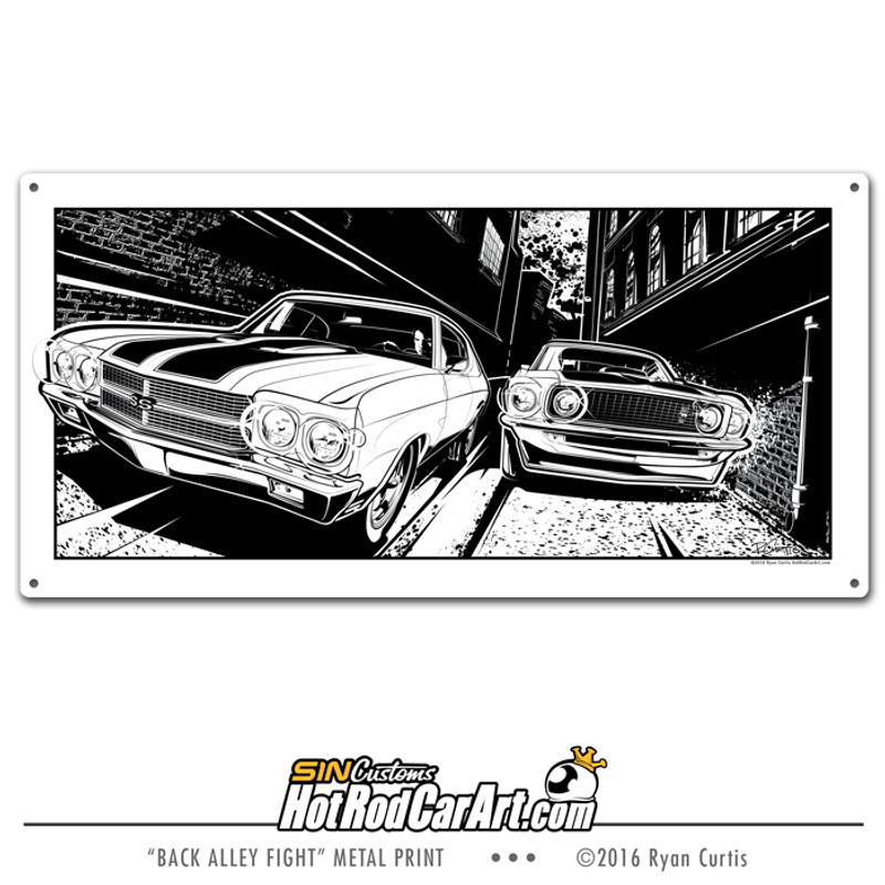 Back Alley Fight 1970 Chevelle vs 1969 Mustang - Decorative Metal Sign