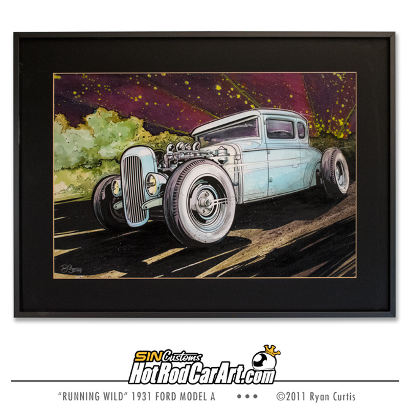 Original Painting created by SIN Customs hot rod artist Ryan Curtis - Featuring a 1931 Ford Model A Coupe