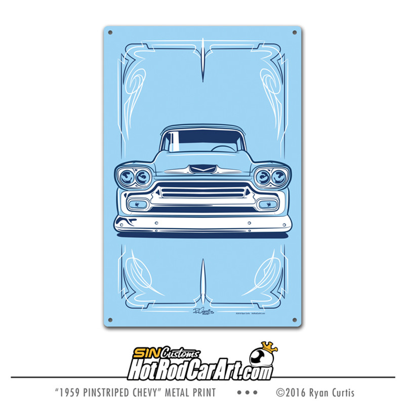 1959 Pinstriped Chevy Truck- Decorative Metal Sign