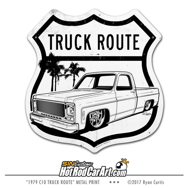 1979 Chevy C10 Truck Route - Decorative Metal Sign