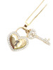 10K Gold 0.75CT Diamond Heart With Key Pendant