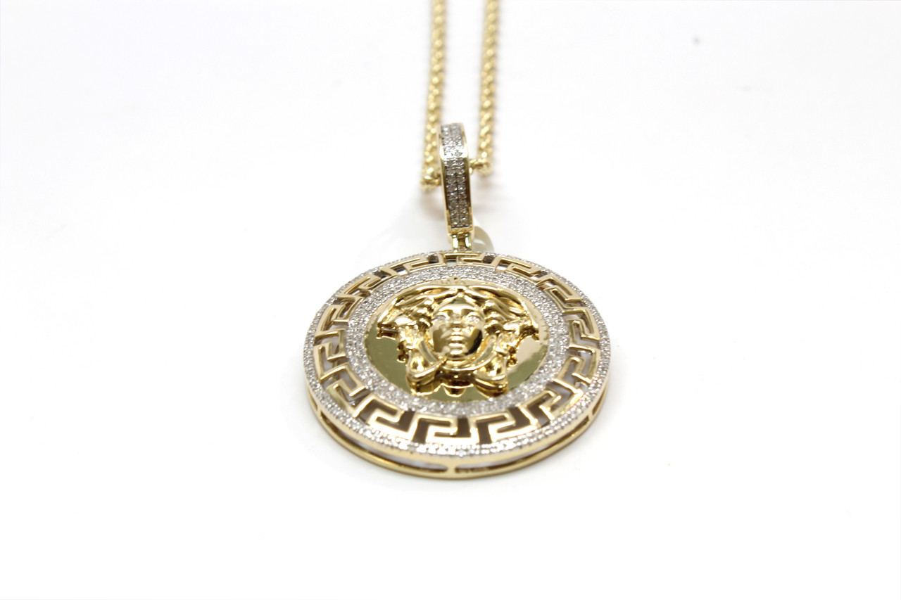 yellow heavy white medusa products medallion solid pendant women men gold two sizes