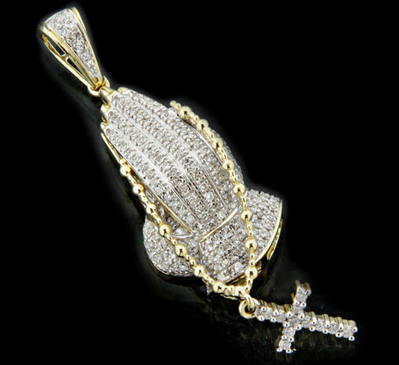 10k gold 035ct diamonds praying hands pendant king johnny 10k gold 035ct diamonds praying hands pendant aloadofball Choice Image
