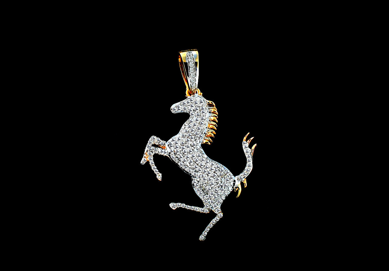 10k gold 070ct diamond horse pendant king johnny johnnys 10k gold 070ct diamond horse pendant aloadofball Image collections