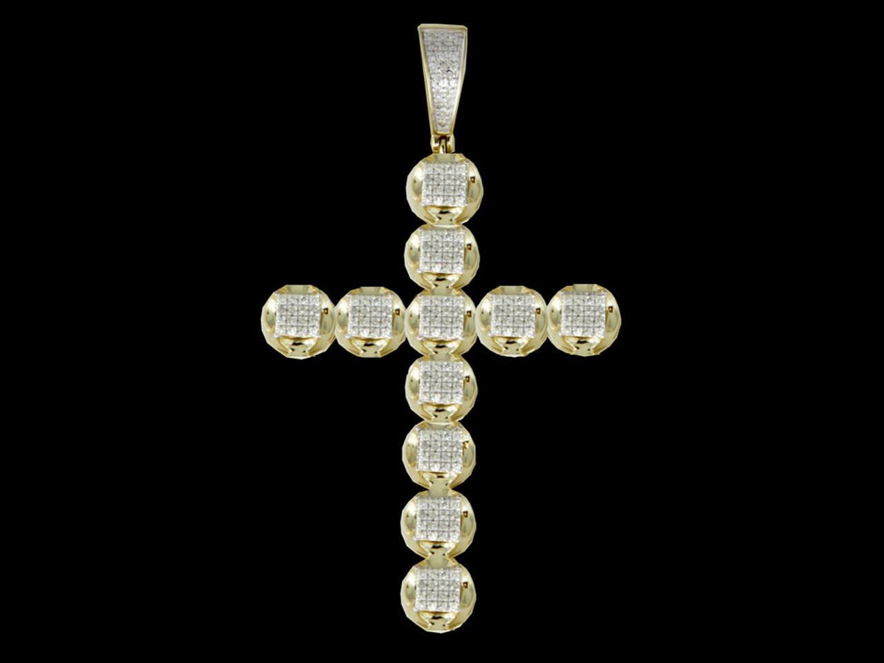 10K Gold 039CT Diamonds Cross Pendant King Johnny Johnnys