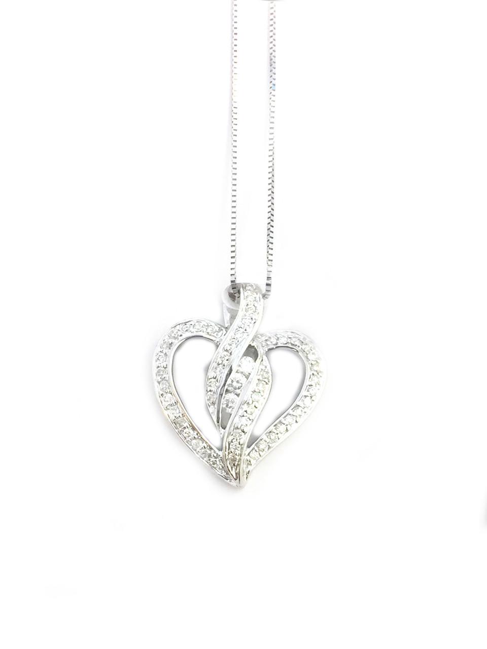 10k white gold 033ct heart diamonds pendant king johnny 10k white gold 033ct heart diamonds pendant mozeypictures Gallery