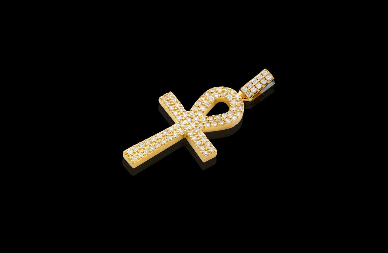 10K Gold 230T Diamonds Custom Made Cross Pendant King Johnny