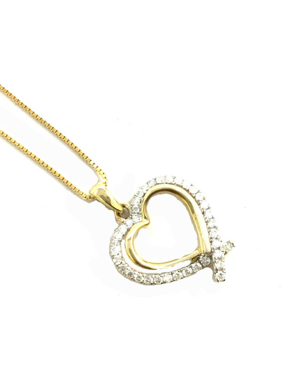 10K gold Heart pendant 0.30ct diamonds with 10K gold chain - King ...