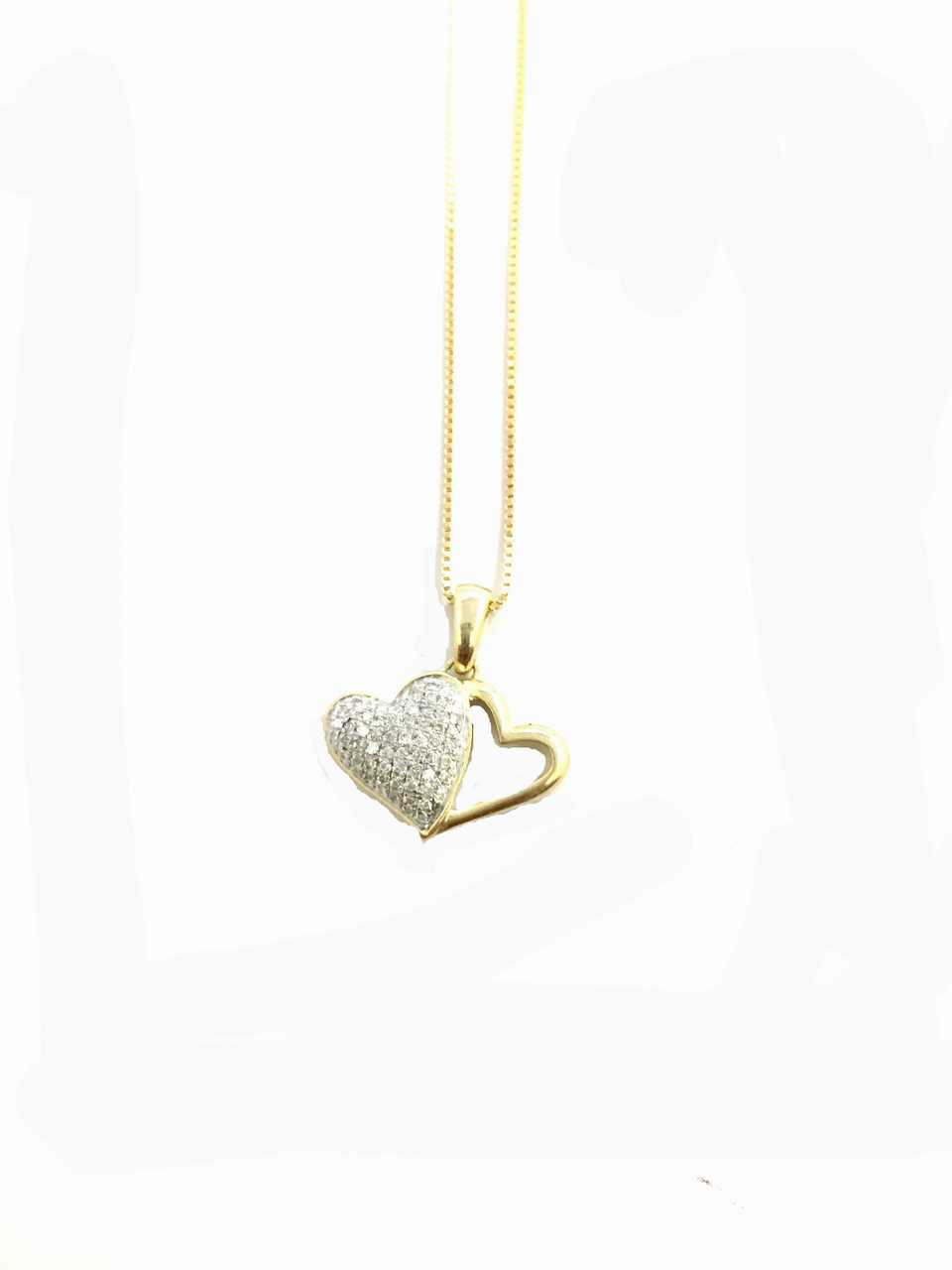 10k gold 015ct diamonds heart pendant with chain king johnny 10k gold 015ct diamonds heart pendant with chain mozeypictures Images
