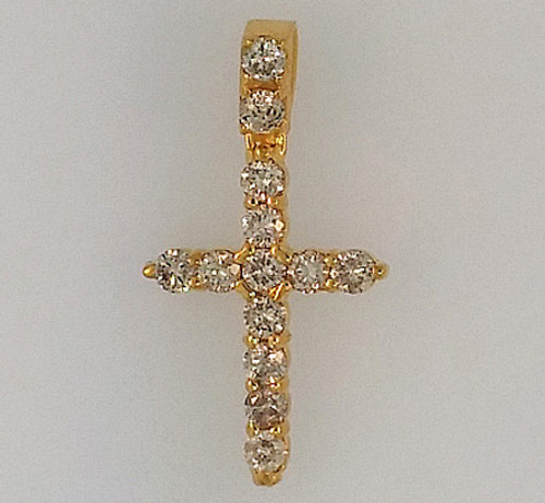 10K Gold Micro Cross 0.80CT Diamonds
