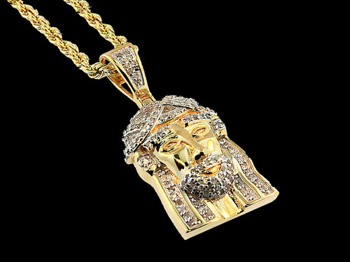 10K Yellow Gold 0.20CT Diamond Jesus Head