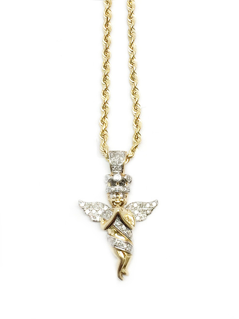10K Gold 0.36CT Diamond Angel Pendant