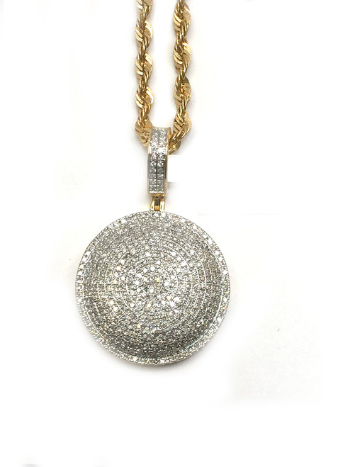 10K Gold 0.95Ct Diamond Round Pendant