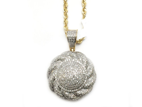 10K Gold 1.20CT Diamond Round Pendant