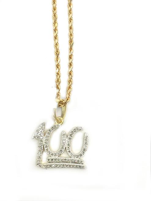 "Gold Polished 0.25CT Diamond ""100"" Pendant"