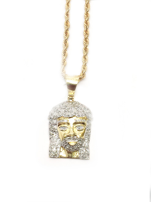 Gold Polished 0.25CT Diamond Jesus Pendant