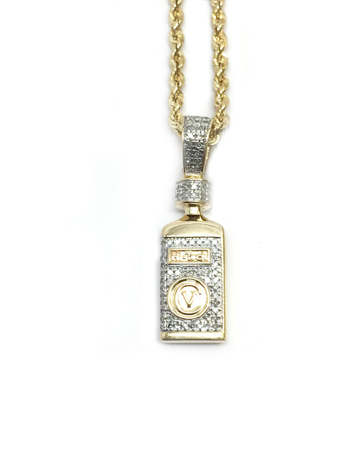 10K Gold 0.27ct diamonds Hi Tech bottle pendant