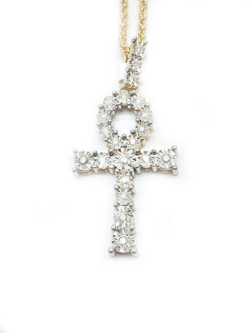10K Gold Ankh with 0.50ct White Diamonds