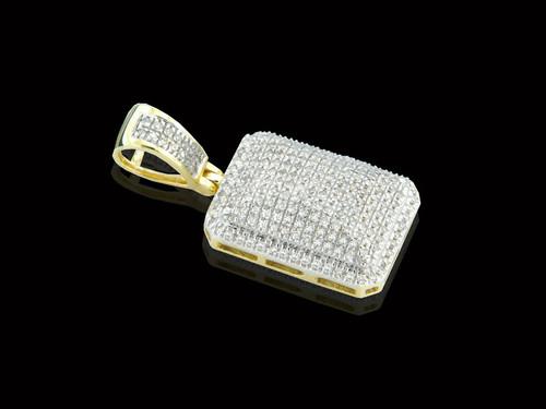 10K Gold Block Pendant with 0.50ct White Diamonds