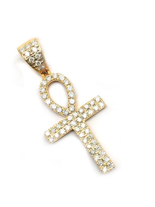 10K Gold Ankh with 0.91ct White Diamonds