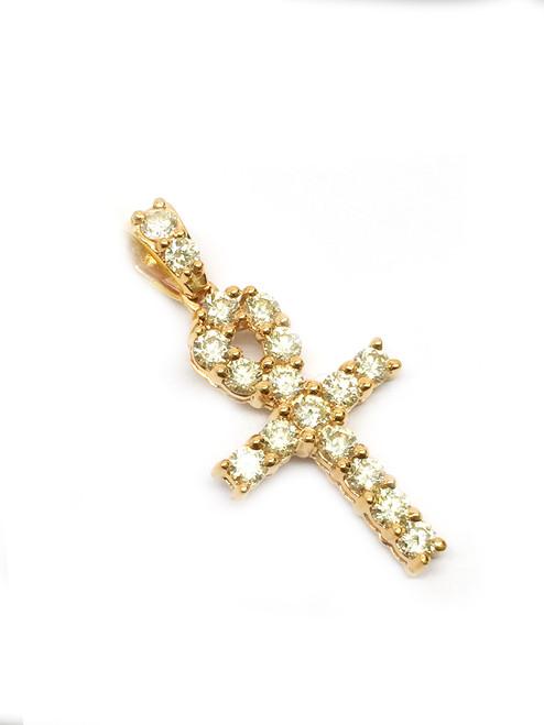 10K Gold Ankh with 2 ct White Diamonds