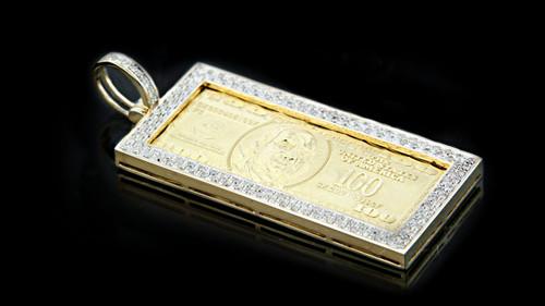 "10K Gold 0.60CT Diamonds ""100 Bill"" Pendant"
