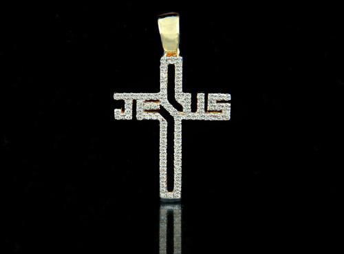 10K Gold 0.45CT Diamonds Jesus Cross
