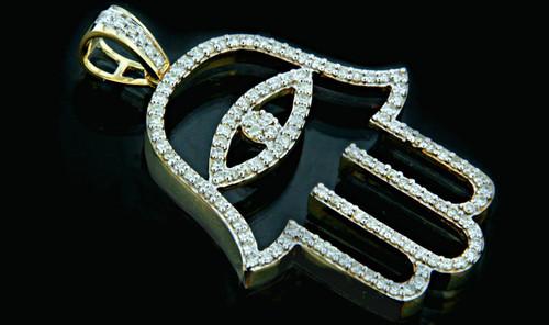 10K Gold 1.20CT Diamonds Hamsa Pendant