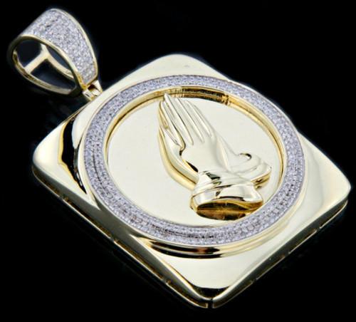 10K Gold 0.50CT Diamonds Praying Hands Pendant