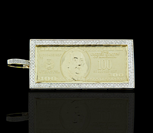 10K Gold 0.75CT Diamonds $100 Bill Pendant