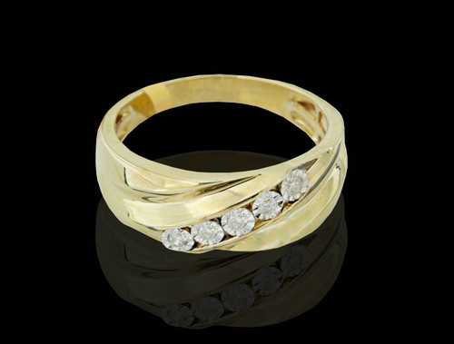 10K Gold 0.12CT Diamonds Men's Band