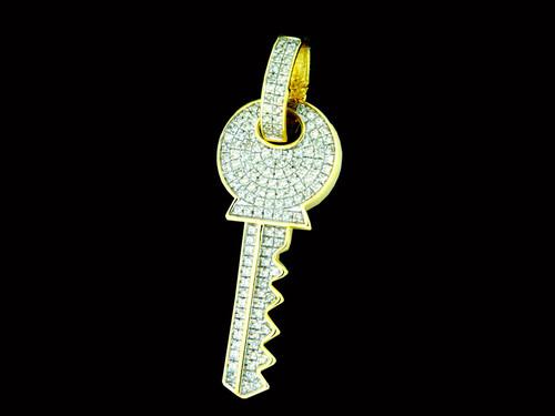 10K Gold 0.41CT Diamonds Key Pendant