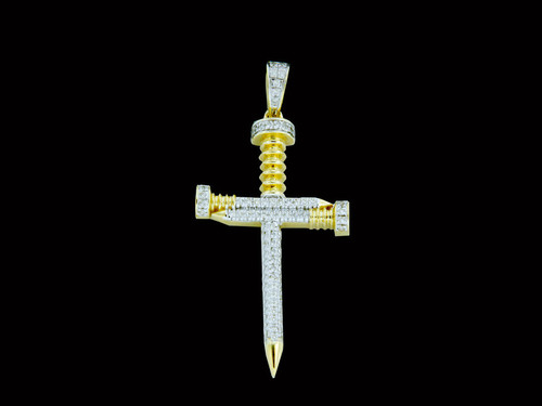 10K Gold 0.27CT Diamonds Nail Cross Pendant