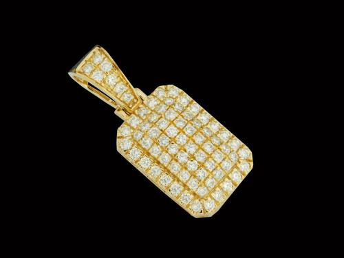 10K Gold 0.91CT Diamonds Block Pendant