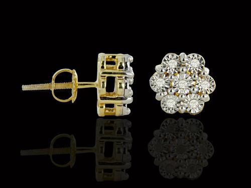 925 Silver 0.20CT Diamonds Flower Earrings