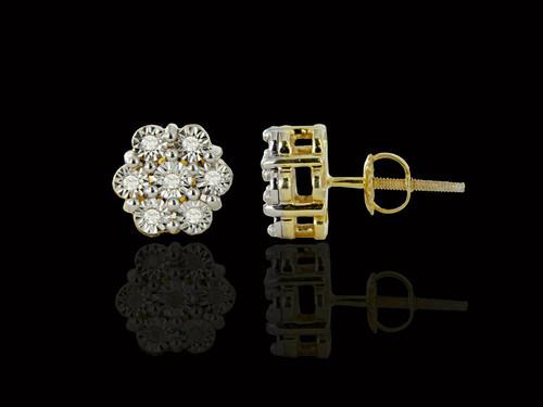 925 Silver 0.09CT Diamonds Flower Earrings