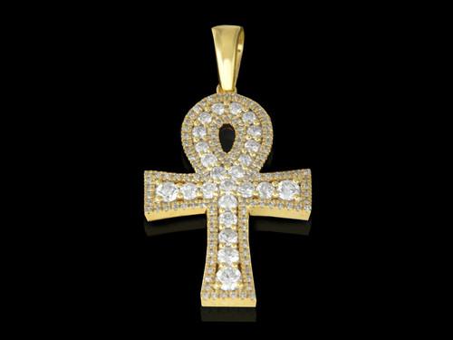 10K Gold 0.91CT Diamonds Ankh Pendant
