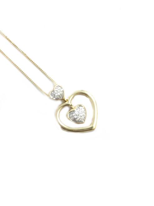 10K Gold 0.10ct diamonds Heart Pendant