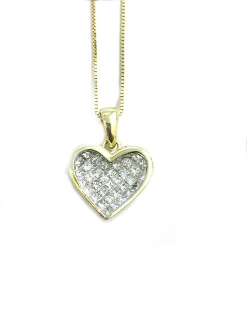 14K Gold 0.54ct diamonds Heart Pendant