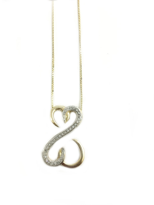 10K Gold Infinity Heart 0.08ct diamonds