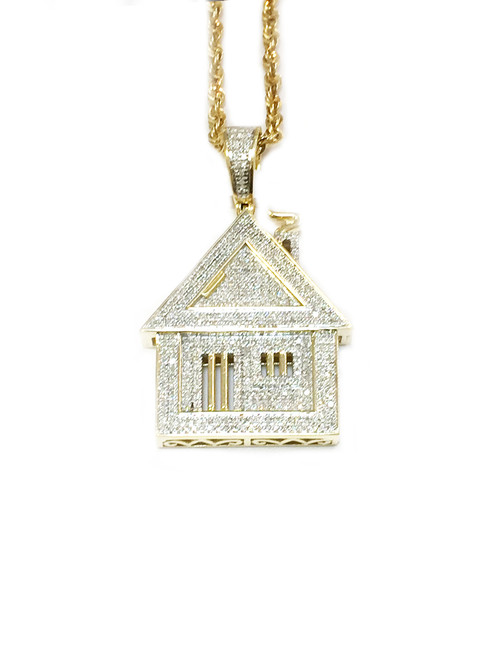 10K Gold 0.80ct diamonds Trap House Pendant