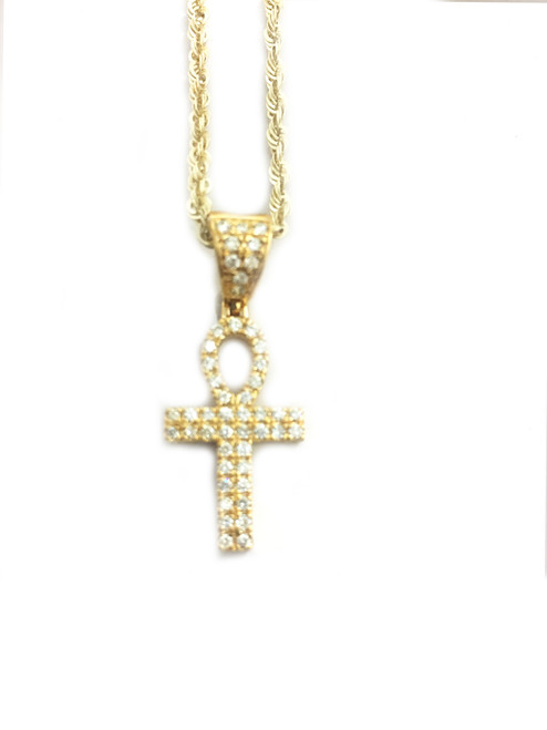 10K gold Ankh 0.50 ct diamonds with 10k gold chain
