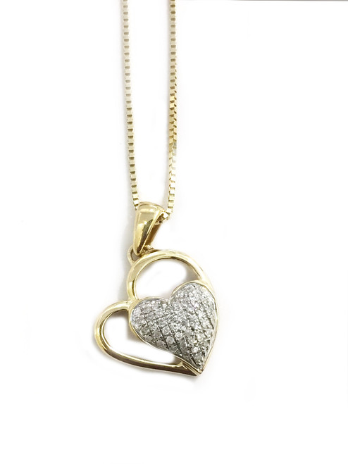 10K gold 0.11ct  diamonds heart  pendant with 10K gold chain