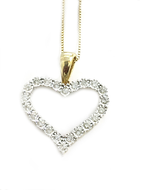 10K gold 0.53ct diamonds Heart Pendant with 10K gold chain