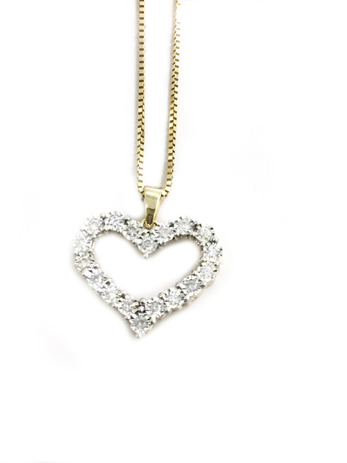 10K gold 0.22 ct diamonds Heart Pendant with 10K gold chain