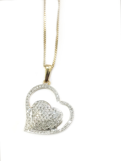 10K gold 0.28ct diamonds heart pendant with 10K gold chain