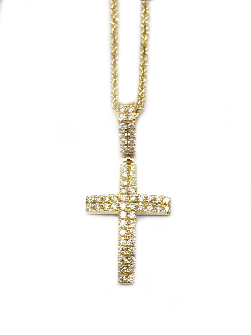 10K gold 0.50ct diamonds cross with Chain