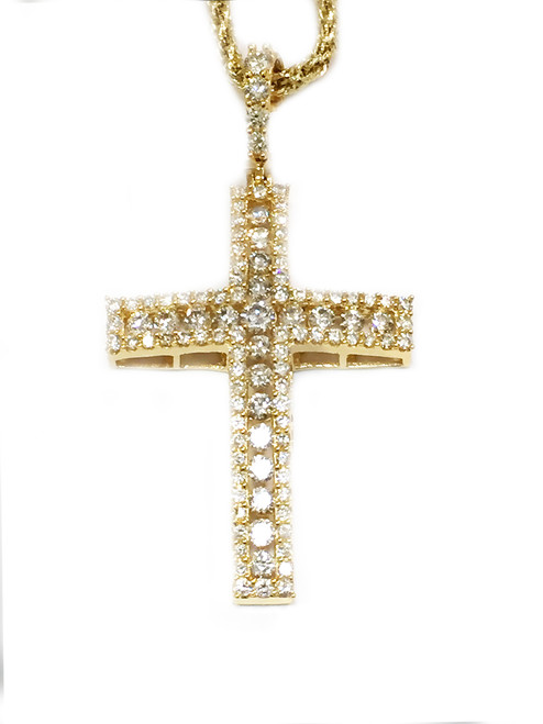 10K gold 2.50ct diamonds cross with 10K gold chain