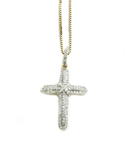 10K gold cross 0.17ct diamonds with 10K gold chain