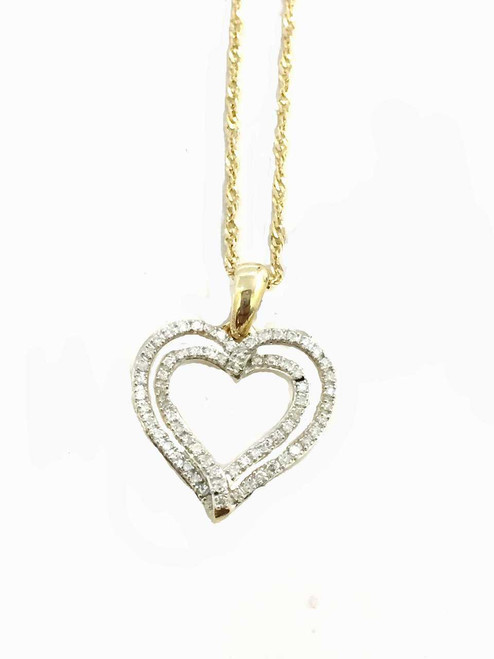 10K Gold Heart Pendant 0.20ct diamonds with 10K Gold Chain